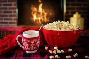 fireplace, coffee mug, popcorn, moving, holiday move, christmas, yyc, calgary, relocate